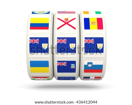 Slots with flag of anguilla isolated on white. 3D illustration
