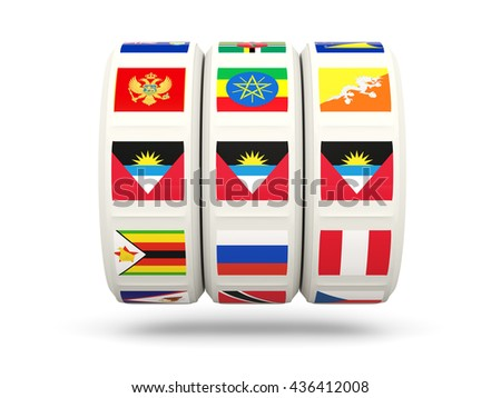 Slots with flag of antigua and barbuda isolated on white. 3D illustration