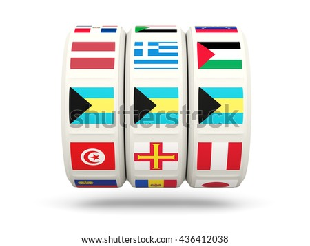 Slots with flag of bahamas isolated on white. 3D illustration