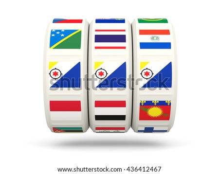 Slots with flag of bonaire isolated on white. 3D illustration