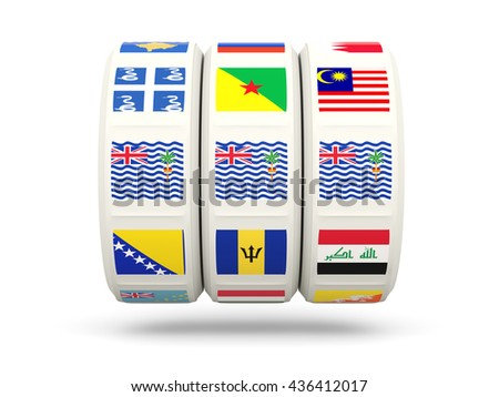 Slots with flag of british indian ocean territory isolated on white. 3D illustration