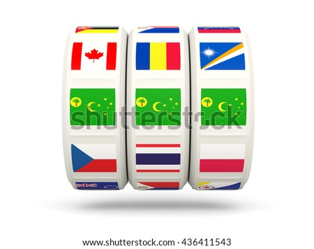 Slots with flag of cocos islands isolated on white. 3D illustration
