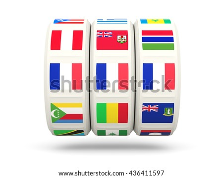 Slots with flag of france isolated on white. 3D illustration