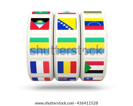 Slots with flag of gabon isolated on white. 3D illustration