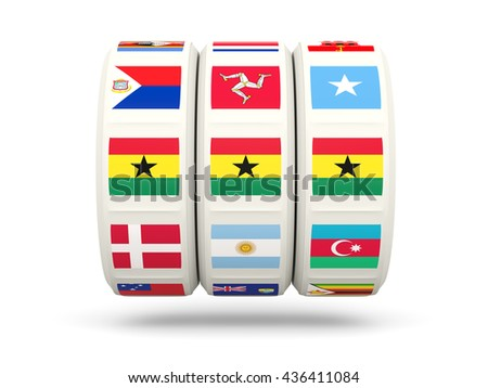 Slots with flag of ghana isolated on white. 3D illustration - stock photo