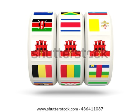 Slots with flag of gibraltar isolated on white. 3D illustration