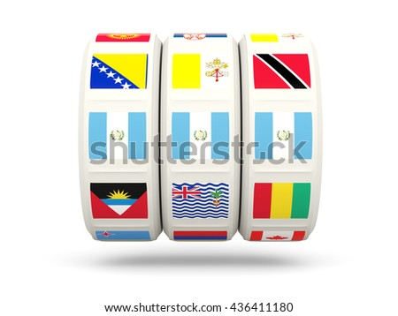 Slots with flag of guatemala isolated on white. 3D illustration