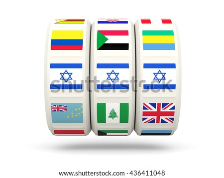 Slots with flag of israel isolated on white. 3D illustration