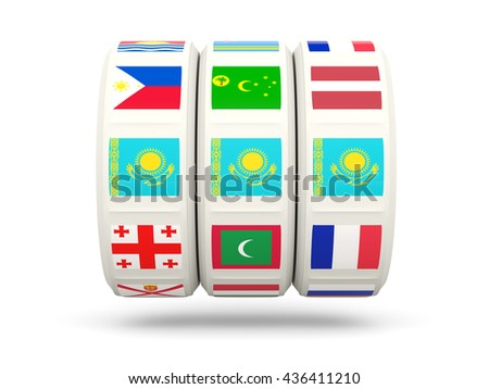 Slots with flag of kazakhstan isolated on white. 3D illustration