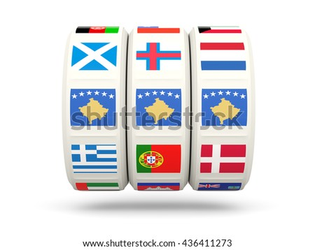 Slots with flag of kosovo isolated on white. 3D illustration