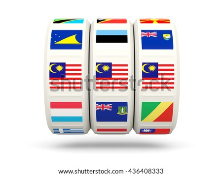 Slots with flag of malaysia isolated on white. 3D illustration