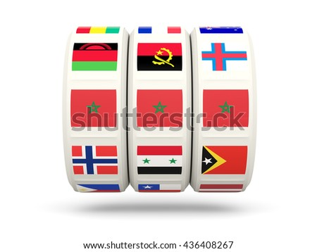 Slots with flag of morocco isolated on white. 3D illustration