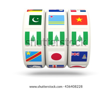 Slots with flag of norfolk island isolated on white. 3D illustration