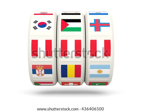 Slots with flag of peru isolated on white. 3D illustration