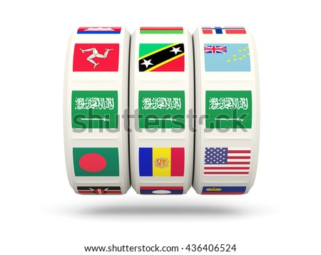 Slots with flag of saudi arabia isolated on white. 3D illustration