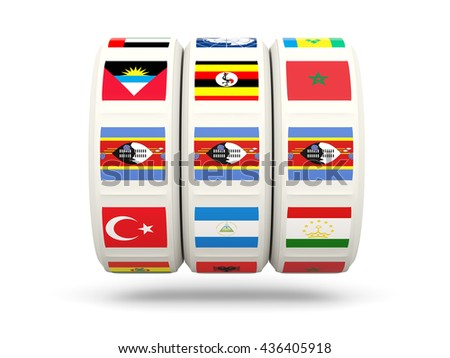 Slots with flag of swaziland isolated on white. 3D illustration