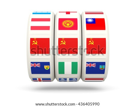 Slots with flag of ussr isolated on white. 3D illustration