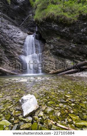 Slovak paradise waterfall - stock photo