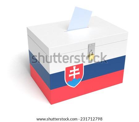 Slovakia ballot box with Slovak Flag. Isolated on white background. - stock photo