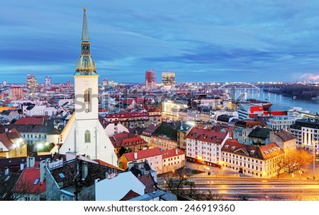 Slovakia - Bratislava at night - stock photo