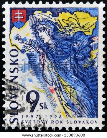 SLOVAKIA - CIRCA 1997: A stamp printed in Slovakia dedicated to World Year of Slovaks, circa 1997 - stock photo