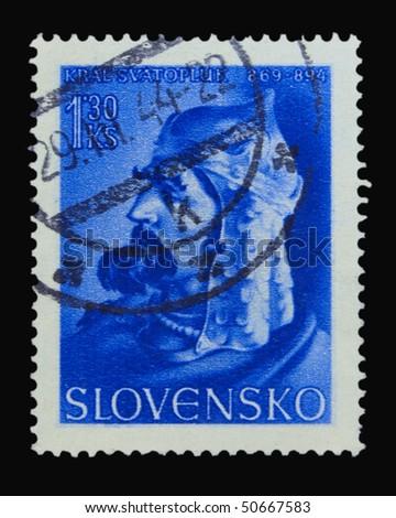 SLOVAKIA - CIRCA 1944: A stamp printed in Slovakia showing king Svatopluk circa 1944 - stock photo