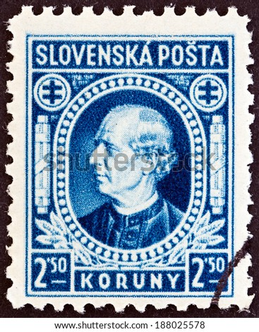 SLOVAKIA - CIRCA 1939: A stamp printed in Slovakia shows Andrej Hlinka, circa 1939.  - stock photo