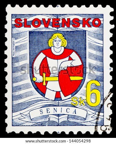 SLOVAKIA - CIRCA 1996: A stamp printed in Slovakia shows coat of arms of Senica town, circa 1996 - stock photo