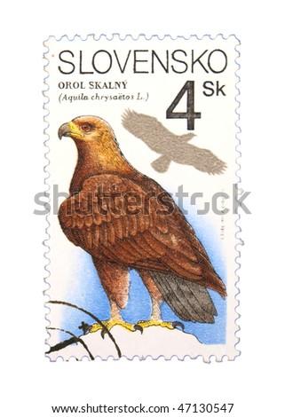 SLOVAKIA - CIRCA 1993: A stamp printed in the USA showing eagle circa 1993 - stock photo