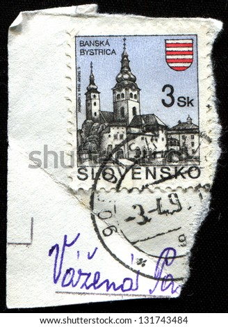 SLOVAKIA - CIRCA 1994: Postage stamp printed in Slovakia shows town Banska Bystrica, circa 1994 - stock photo