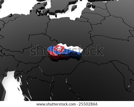slovakia 3d map - stock photo