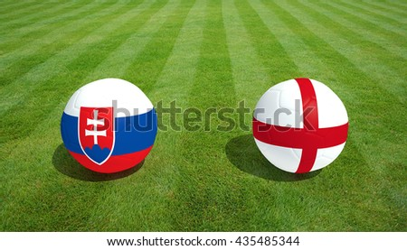 Slovakia / England soccer game on grass soccer field 3d Rendering. - stock photo