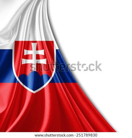 Slovakia flag and white background - stock photo