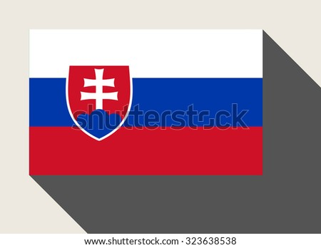 Slovakia flag in flat web design style. - stock photo