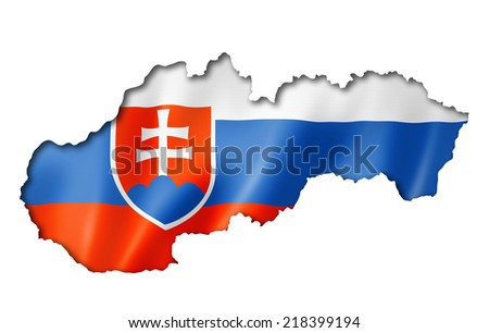 Slovakia flag map, three dimensional render, isolated on white