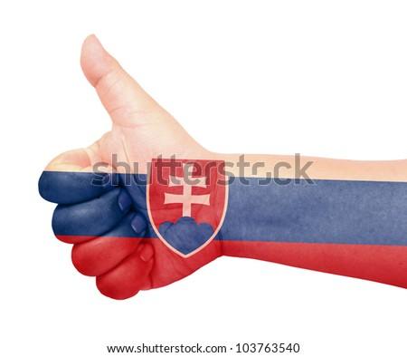 Slovakia flag on thumb up gesture like icon on white background - stock photo