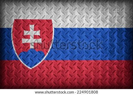 Slovakia flag pattern on the diamond metal plate texture ,vintage style - stock photo