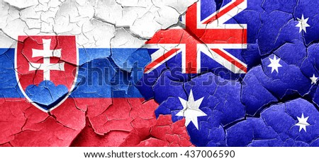 Slovakia flag with Australia flag on a grunge cracked wall
