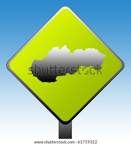 Slovakia green diamond shaped road sign with gradient blue sky background.