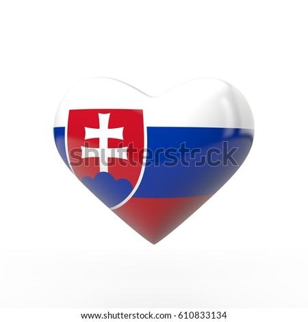 Slovakia heart flag 3d rendering