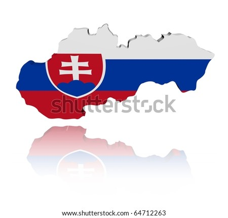 Slovakia map flag 3d render with reflection illustration