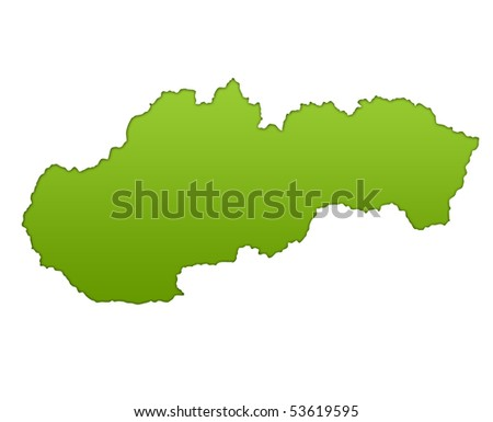 Slovakia map in gradient green, isolated on white background.