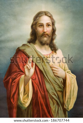 SLOVAKIA, MARCH 18, 2010: Print Copy of typical catholic image of Jesus Christ from end of 19. cent. from Slovakia originally by painter Hans Zatzka (nickname - Zabateri). - stock photo