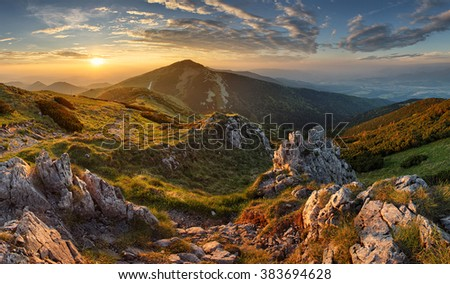 Slovakia mountain from peak Chleb - stock photo