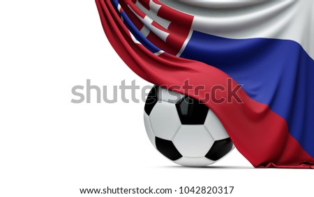 Slovakia national flag draped over a soccer football ball. 3D Rendering