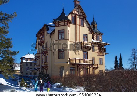 SLOVAKIA, STARY SMOKOVEC - JANUARY 06, 2015: View of the Grand Hotel in  popular resort Stary Smokovec (High Tatras mountains) with half-timbered elements. The hotel was established in 1904.