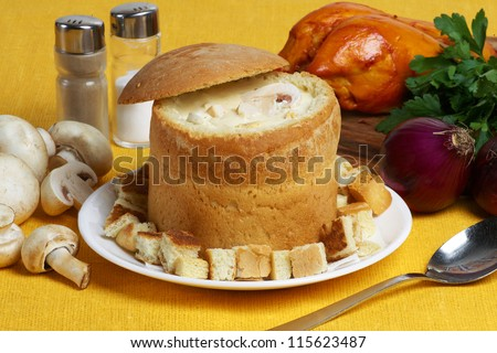 slovakian cheese cream-soup in bread