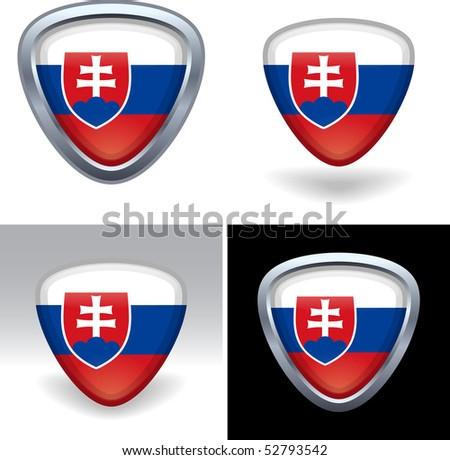 Slovakian Flag Crest - stock photo