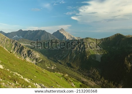 Slovakian Tatra Mountains seen from the top of Kasprowy wierch. - stock photo