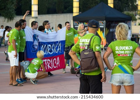 Slovenia fans before match Round of 16 Basketball Worldcup, Slovenia vs Dominicana Republic Basketball Worldcup, match on September 6, 2014, in Palau Sant Jordi stadium, Barcelona, Spain.  - stock photo